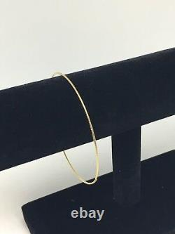 14k Solid Yellow Gold 1 mm Square Tube Slip-On 7.5 IN Thin Bangle Bracelet