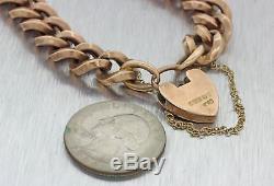 1880s Antique Victorian 9ct Yellow Gold Padlock Heart 8mm Wide Charm Bracelet J8