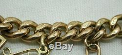 1912 Vintage Heavy 9ct Gold Curb Link Charm Bracelet With 4 Half Sovereigns