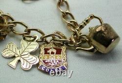 1970's Vintage 9 carat Gold Charm Bracelet With Nine Charms