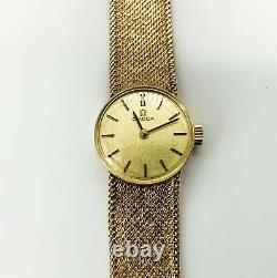 1972 Ladies Solid 9ct Gold Omega Dress Watch On Integral 9ct Gold Mesh Bracelet