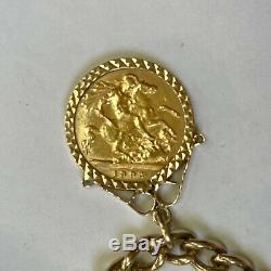 1984 Heavy 9ct Gold Curb Link Charm Bracelet 4 Half Sovereigns & 1/4 Krugerrand