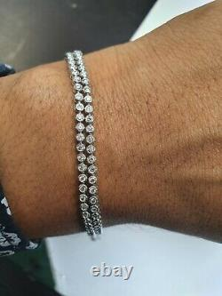 2.00 Carat Bezel Set Round Diamond Tennis Bracelet in White Gold