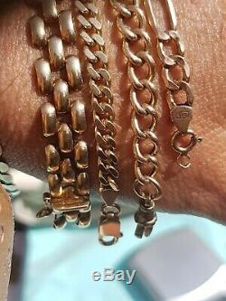 33g Joblot stamped9ct Gold bracelets panther, t bar albert, Figaro, kerb chains