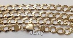 375 Solid 9ct Yellow Gold Diamond Cut Curb Link Chain Or Bracelet Hallmarked