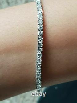 4.04 Carat F/SI Exeptional White Round Diamond Tennis Bracelet White Gold