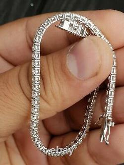 4 Carat F/SI Exeptional White Natural Round Diamond Tennis Bracelet White Gold