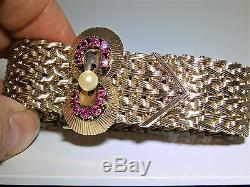 51g VINTAGE RETRO 9CT YELLOW GOLD GATE LINK RUBY PEARL BUCKLE BRACELET 1960s