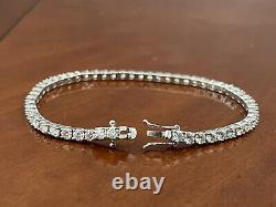 5.42 Ct Top Most Quality Round Diamond Tennis Bracelet, White Gold Hallmarked