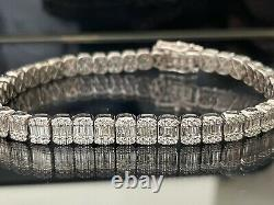 7.24 Ct Round And Baguette Diamond Tennis Bracelet, white gold