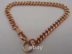 7.75in ANTIQUE VICTORIAN 9ct ROSE GOLD ALBERT CURB CHAIN BRACELET DOG CLIP 18g