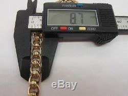 8.5ins FABULOUS 8.7mm UNISEX HM HEAVY VINTAGE 9ct GOLD ROLLERBALL BRACELET 32.9g