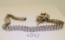9CT 0.35CT DIAMOND MARQUISE LINK TENNIS BRACELET 9 CARAT YELLOW GOLD 10.7g