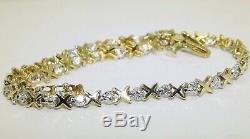 9CT DIAMOND KISS LINK BRACELET 9 CARAT YELLOW GOLD 3.6g