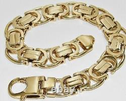 9CT GOLD ON SILVER MENS BYZANTINE BRACELET 9.5 INCH HUGE 14mm Links 73.8 GRAMS