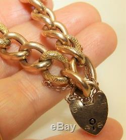 9CT ROSE GOLD ALBERT WATCH CHAIN CURB LINK CHARM BRACELET HEART PADLOCK 17.4g