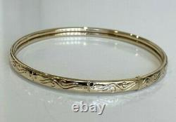 9CT Solid Gold Slave Bangle with Engraved Decorations 5.65g / 65mm
