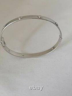 9CT WHITE GOLD LOVE SCREW BANGLE not Cartier