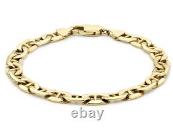 9CT YELLOW GOLD 7.5 inch ANCHOR CURB LADIES BRACELET 6MM UK HALLMARKED