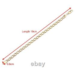 9CT YELLOW GOLD 7.5 inch DOUBLE CURB LADIES BRACELET 6MM UK HALLMARKED