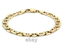 9CT YELLOW GOLD 8.5 inch ANCHOR CURB MEN'S BRACELET UK HALLMARKED