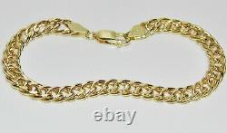 9CT YELLOW GOLD 8.5 inch CHUNKY DOUBLE CURB BRACELET 7MM UK HALLMARKED