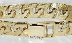 9CT YELLOW GOLD ON SILVER MENS BRACELET 15mm WIDTH 8.5 INCH 42.5 GRAMS