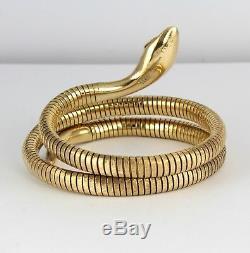 9Ct Gold Bark Patterned Double Snake /Serpent Bangle /Bracelet Smith & Pepper