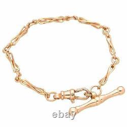 9Ct Rose Gold 7.25 Twisted Fancy Link Bracelet with T-Bar (3mm Wide & 29mm Long)