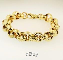 9Ct Yellow Gold 7.75 Patterned Belcher Bracelet (10mm Wide)