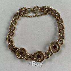 9.8g Antique 9ct Gold Curb Chain Link Bracelet Garnet