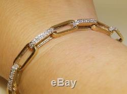 9 CARAT 9CT 9KT YELLOW GOLD 0.6CT DIAMOND CHAIN LINK LINE BRACELET 16.2g