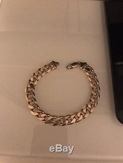 9 ct Gold Mens Curb Bracelet 43.2 Grams