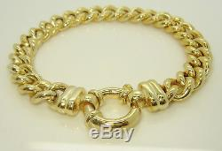 9ct (375, 9K) Yellow Gold Lined Pattern Curb Bracelet with Bolt Lock