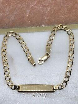 9ct 375 Genuine Solid Yellow Gold Lady&Maiden Curb ID Bracelet Free Engraving