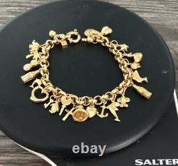 9ct 375 Gold Belcher Charm Bracelet