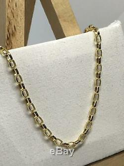 9ct 375 Hallmarked Yellow Gold 3mm Oval BELCHER CHAIN NECKLACE ALL SIZE