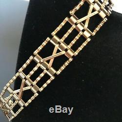 9ct 375 Solid Gold 4 Bar 7 Gate Bracelet & Safety Chain hallmarked stamped #121