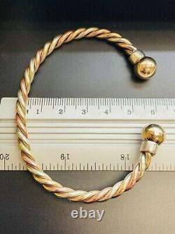 9ct 3-Colour Solid Gold Twist Torque Bangle 4.8mm