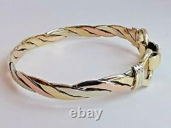 9ct 3 colour ROSE WHITE & YELLOW GOLD TWIST BANGLE torque style with clip 8