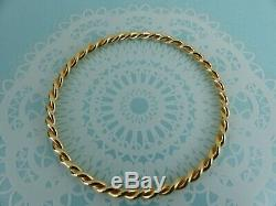 9ct 9carat Solid Yellow Gold Twist Slave Bangle no clasp 4mm width, 17 grams