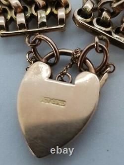 9ct Antique Gold Bracelet Guard Chain Padlock 375
