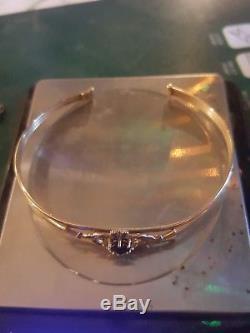9ct Carat Gold Irish Claddagh Sapphire & Diamond Love Bracelet 5.4g Genuine
