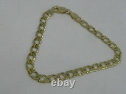 9ct GOLD DOUBLE CURB LINK BRACELET FULL ENGLISH HALLMARKS 4.8 grams 7 LONG