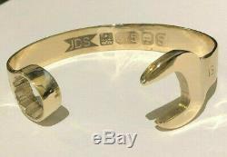9ct GOLD SPANNER BANGLE 15mm Size 8-9inch BIG MENS 9 carat Wrench Bracelet 53g
