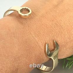 9ct GOLD TORQUE SPANNER BANGLE BRACELET SOLID 24.1g 7 1/2 Wrist
