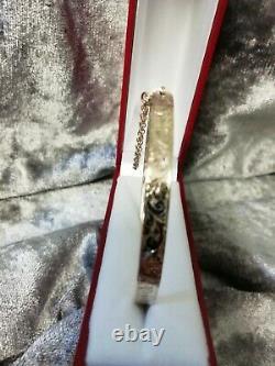 9ct GOLD VINTAGE BC, FOLIATE DESIGN BANGLE, 10.1 GRAMS, FULLY HALLMARKED