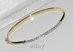 9ct Gold 0.25ct Ladies Bangle Brand New UK Hallmarked
