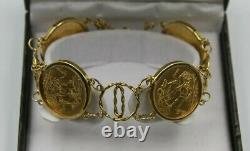 9ct Gold 4 Full Sovereign Bracelet