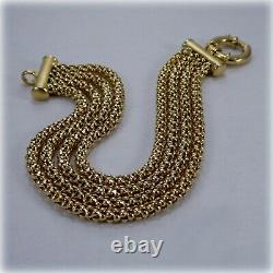9ct Gold 8.25 Four-row Bracelet, with Feature Clasp